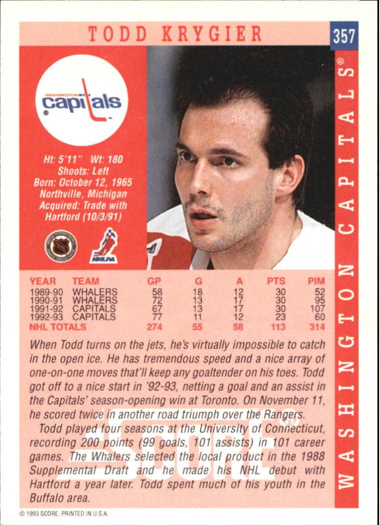 1993-94 Score #357 Todd Krygier back image