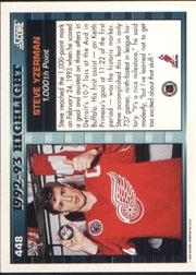 1993-94 Score #448 Steve Yzerman HL back image
