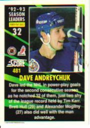 1993-94 Score #481 Dave Andreychuk SL back image