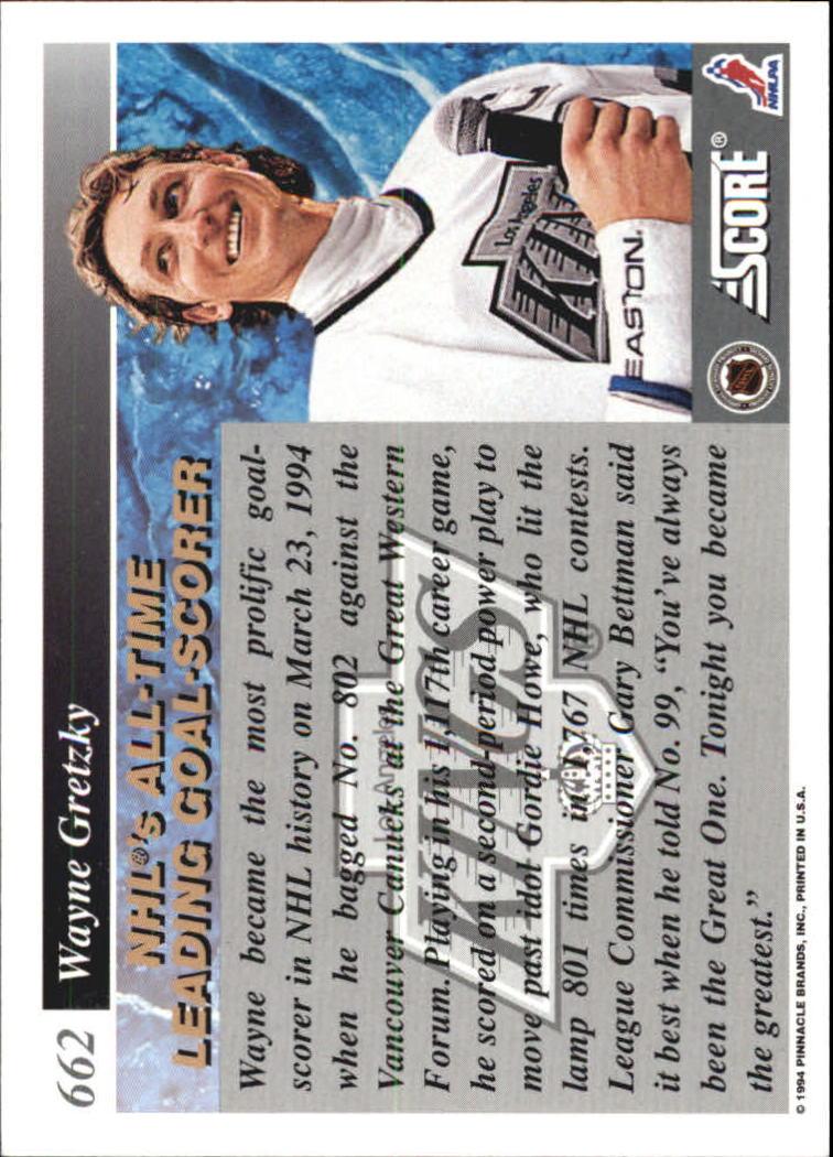 1993-94 Score #662 Wayne Gretzky 802 back image