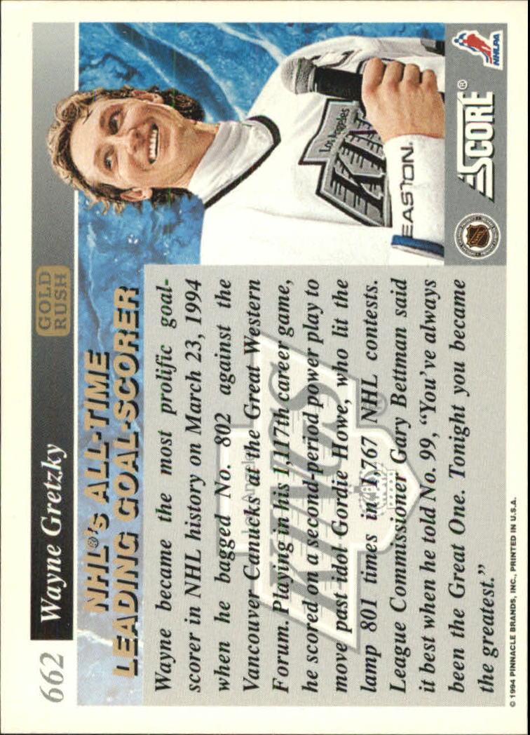 1993-94 Score Gold Rush #662 Wayne Gretzky back image