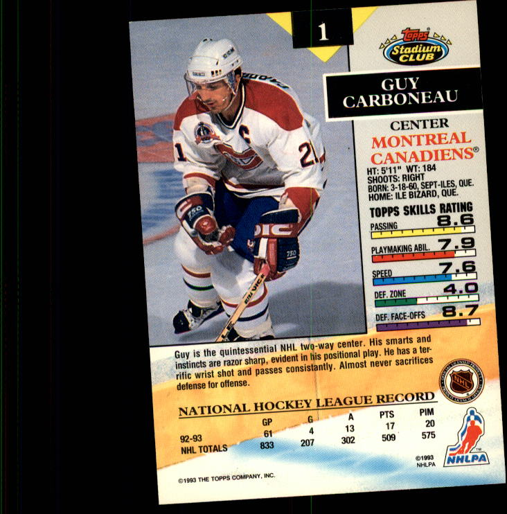 1993-94 Stadium Club #1 Guy Carbonneau back image