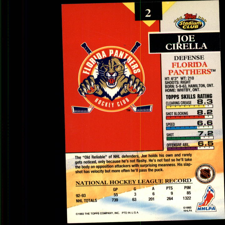 1993-94 Stadium Club #2 Joe Cirella back image