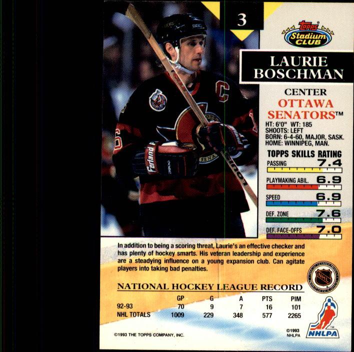 1993-94 Stadium Club #3 Laurie Boschman back image