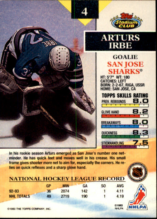 1993-94 Stadium Club #4 Arturs Irbe back image