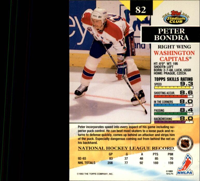 1993-94 Stadium Club #82 Peter Bondra back image