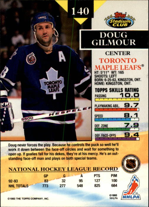 1993-94 Stadium Club #140 Doug Gilmour back image