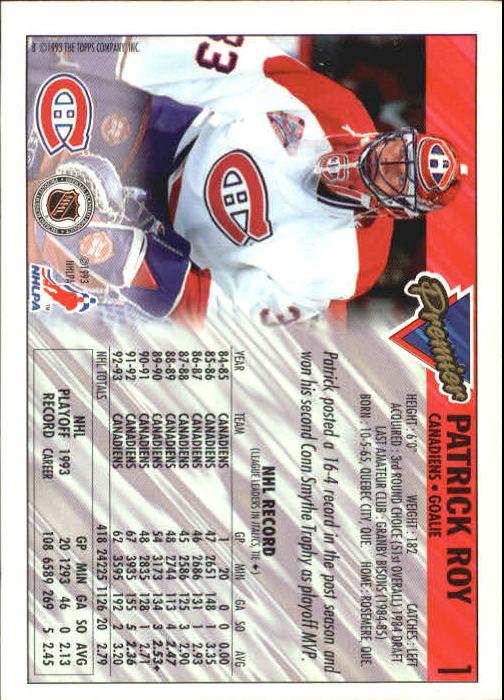 1993-94 Topps Premier #1 Patrick Roy back image