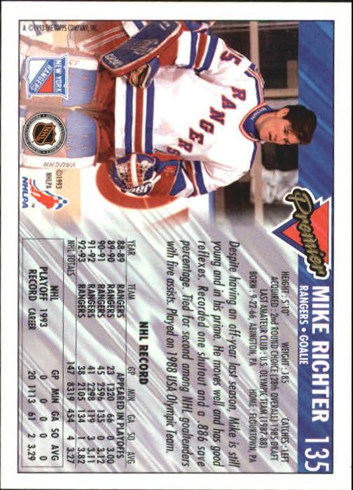 1993-94 Topps Premier #135 Mike Richter back image