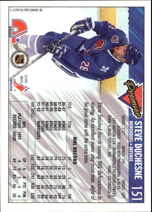1993-94 Topps Premier #151 Steve Duchesne back image
