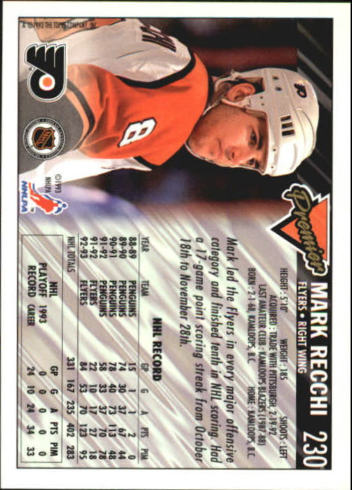 1993-94 Topps Premier #230 Mark Recchi back image