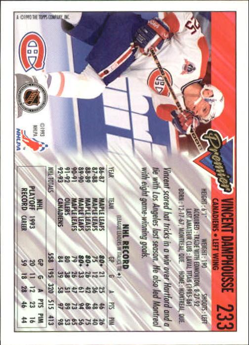 1993-94 Topps Premier #233 Vincent Damphousse back image