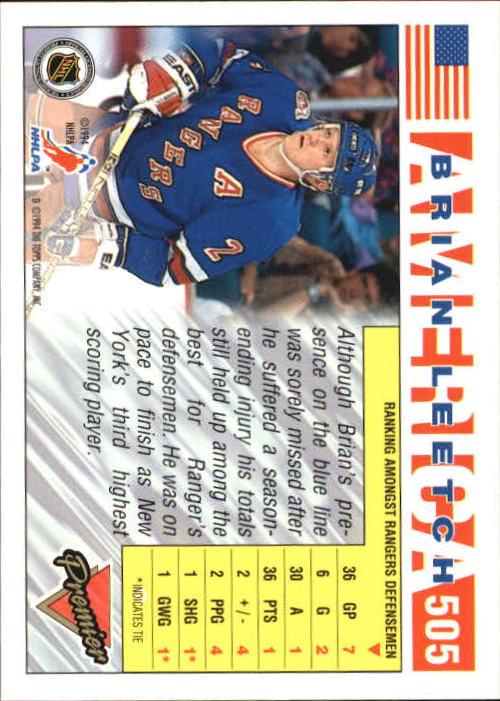1993-94 Topps Premier #505 Brian Leetch USA back image