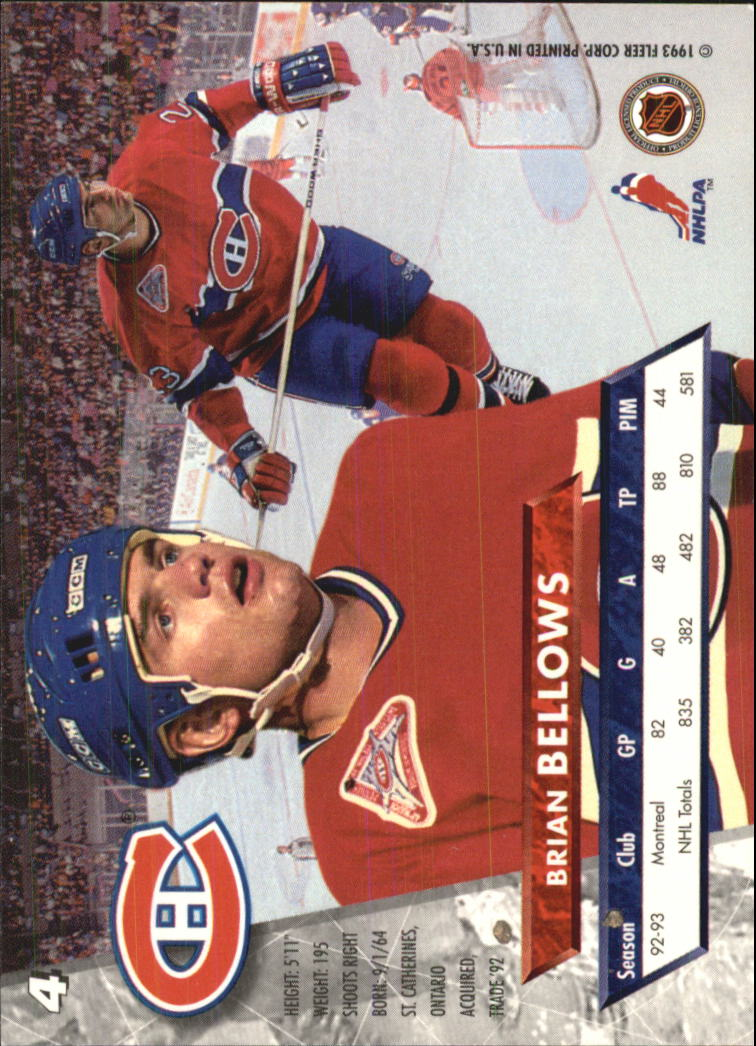 1993-94 Ultra #4 Brian Bellows back image