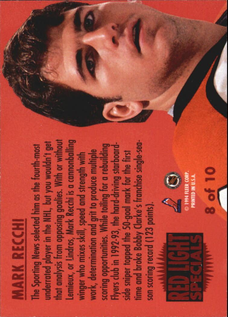 1993-94 Ultra Red Light Specials #8 Mark Recchi back image