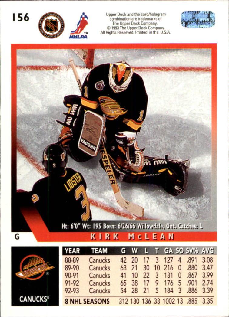 1993-94 Upper Deck #156 Kirk McLean back image