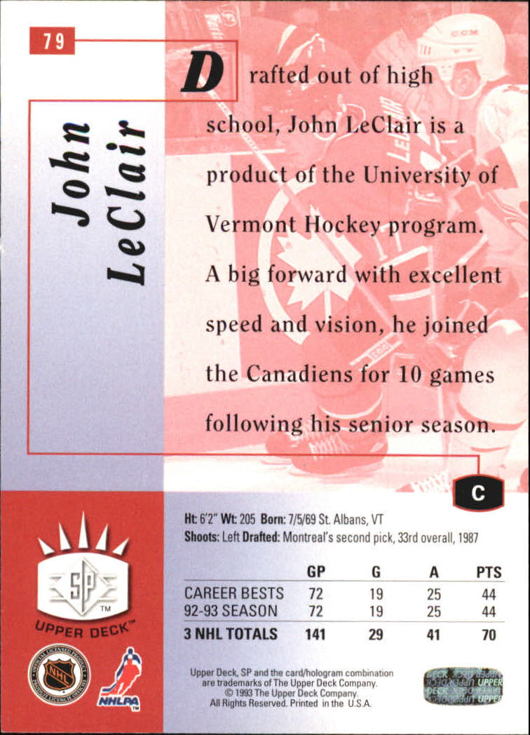1993-94 Upper Deck SP Inserts #79 John LeClair back image