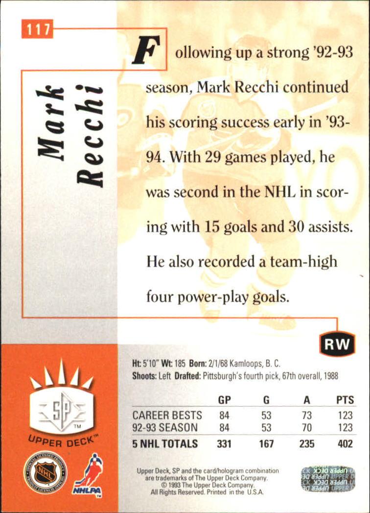1993-94 Upper Deck SP Inserts #117 Mark Recchi back image