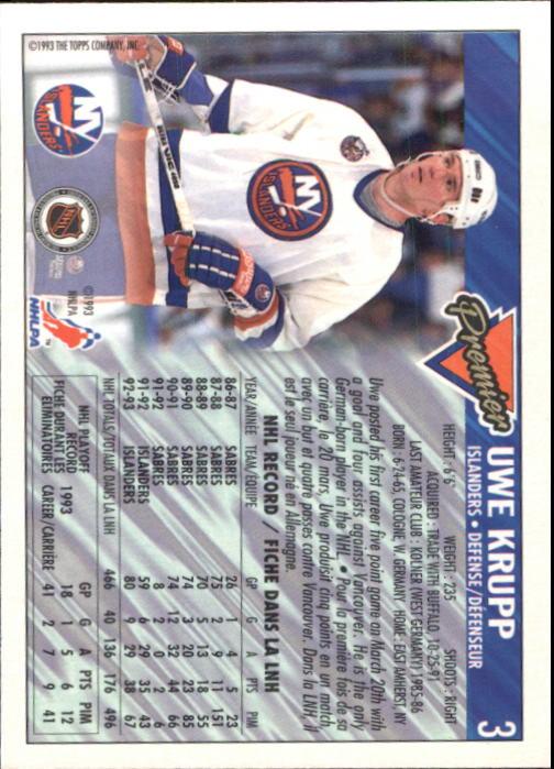 1993-94 OPC Premier #3 Uwe Krupp back image