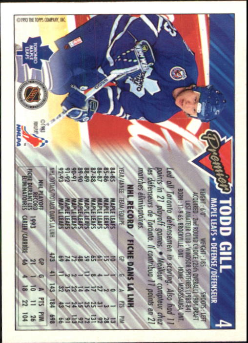 1993-94 OPC Premier #4 Todd Gill back image