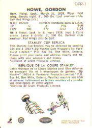 1993-94 Parkhurst Parkie Reprints Case Inserts #DPR1 Gordie Howe back image