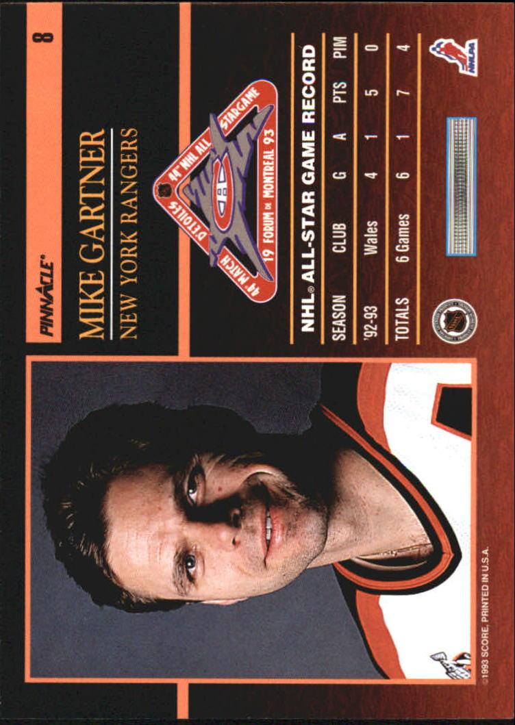 1993-94 Pinnacle All-Stars Canadian #8 Mike Gartner back image