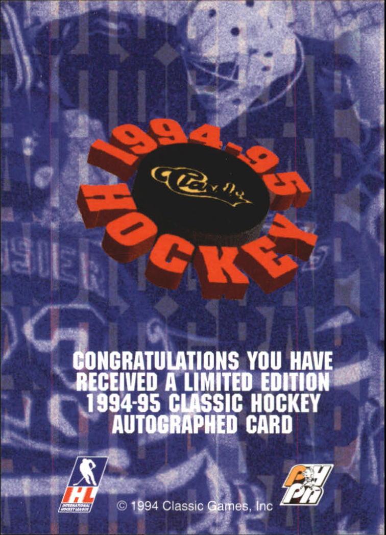 1994 Classic Autographs #3 Radek Bonk/4940 back image