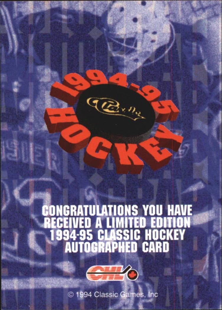 1994 Classic Autographs #4 Jason Bonsignore/4300 back image