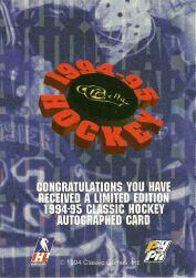 1994 Classic Autographs #106 David Roberts/1970 back image