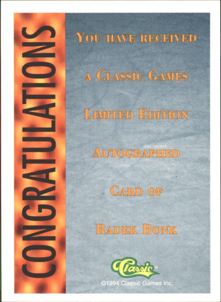 1994 Classic Pro Prospects Autographs #AU1 R.Bonk AU/2400 back image