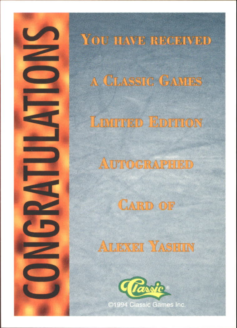 1994 Classic Pro Prospects Autographs #AU9 A.Yashin AU/1400 back image
