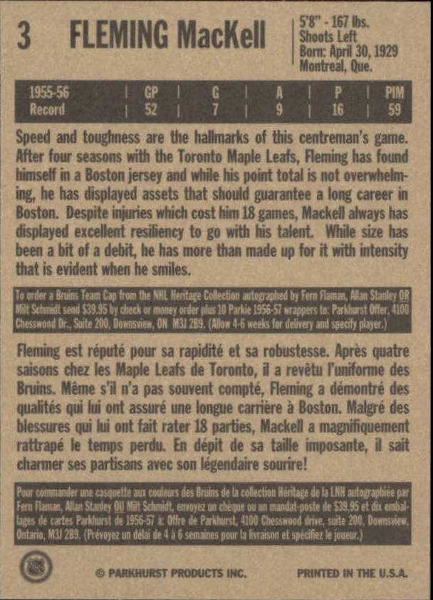 1994 Parkhurst Missing Link #3 Fleming MacKell back image