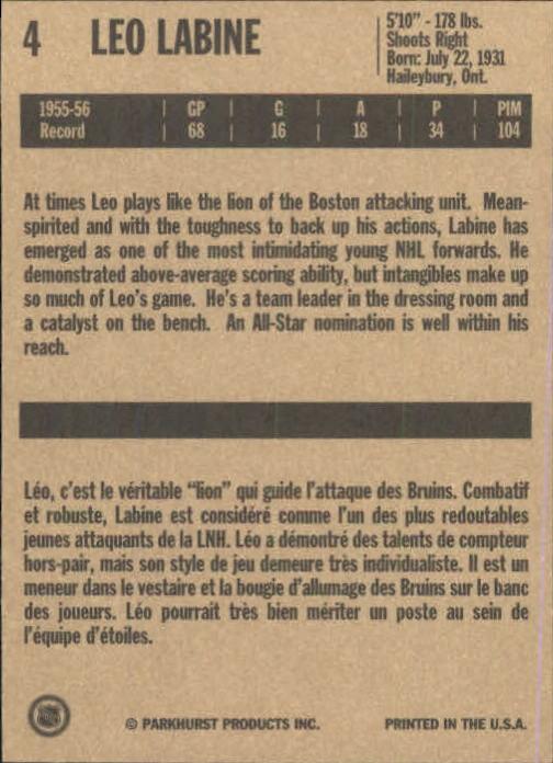 1994 Parkhurst Missing Link #4 Leo Labine back image