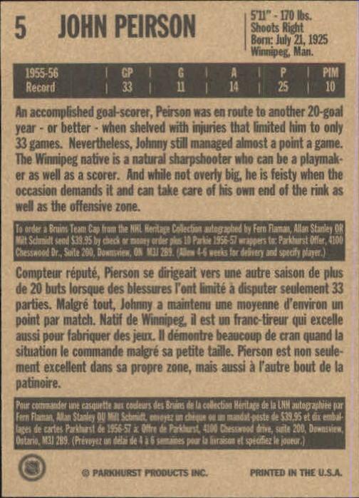 1994 Parkhurst Missing Link #5 John Peirson back image