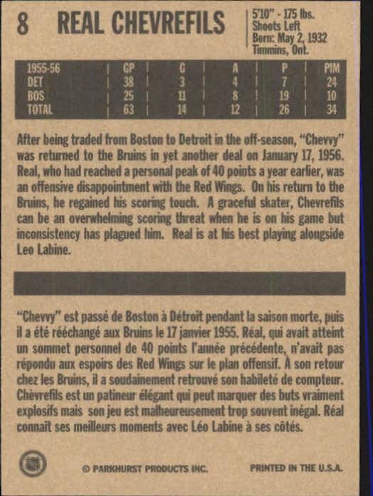 1994 Parkhurst Missing Link #8 Real Chevrefils back image