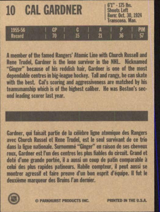 1994 Parkhurst Missing Link #10 Cal Gardner back image