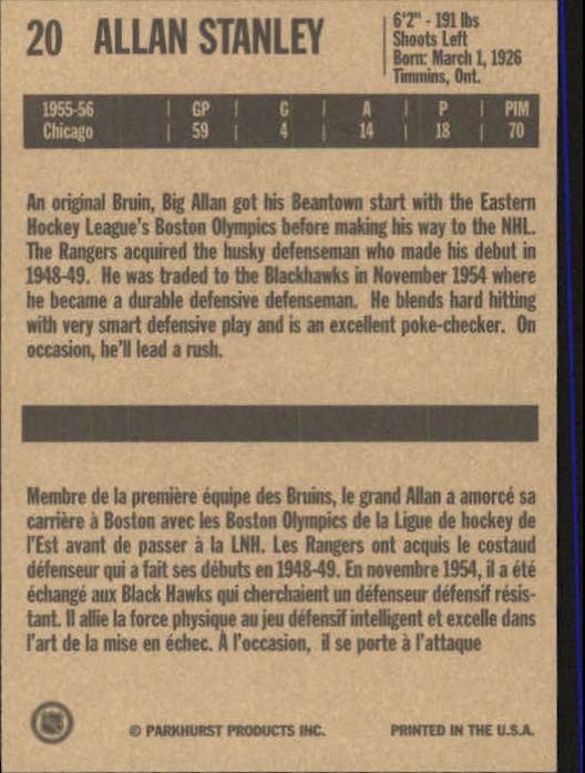 1994 Parkhurst Missing Link #20 Allan Stanley back image