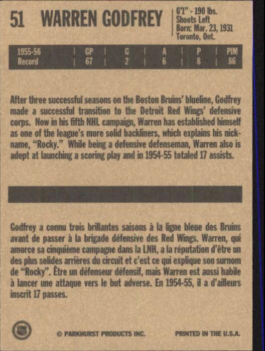 1994 Parkhurst Missing Link #51 Warren Godfrey back image