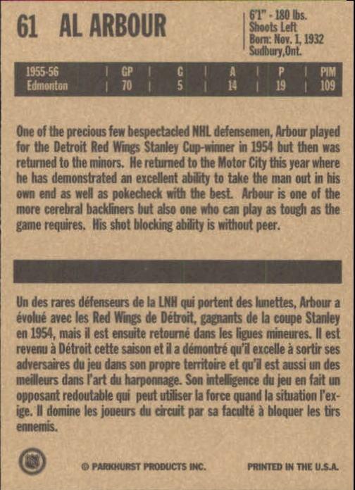 1994 Parkhurst Missing Link #61 Al Arbour back image