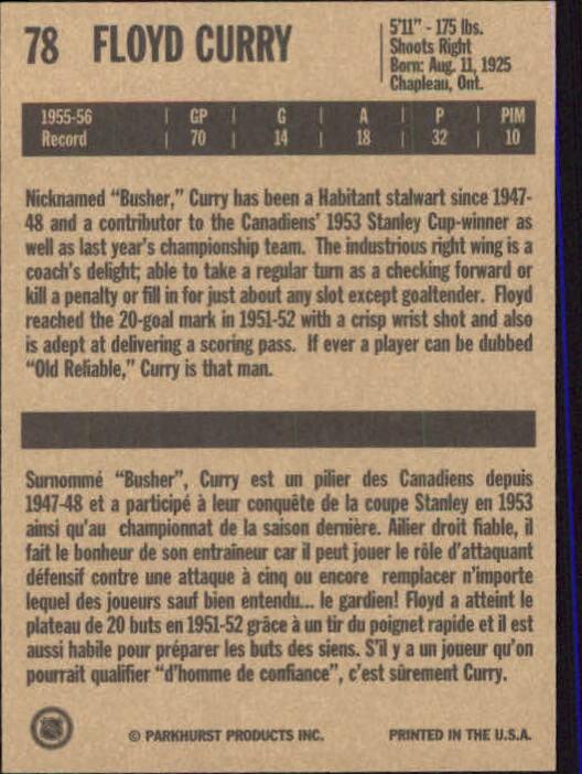 1994 Parkhurst Missing Link #78 Floyd Curry back image