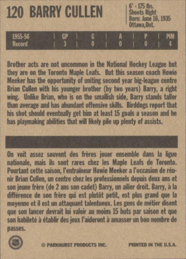 1994 Parkhurst Missing Link #120 Barry Cullen back image