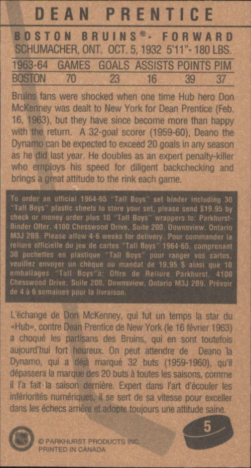 1994 Parkhurst Tall Boys #5 Dean Prentice back image
