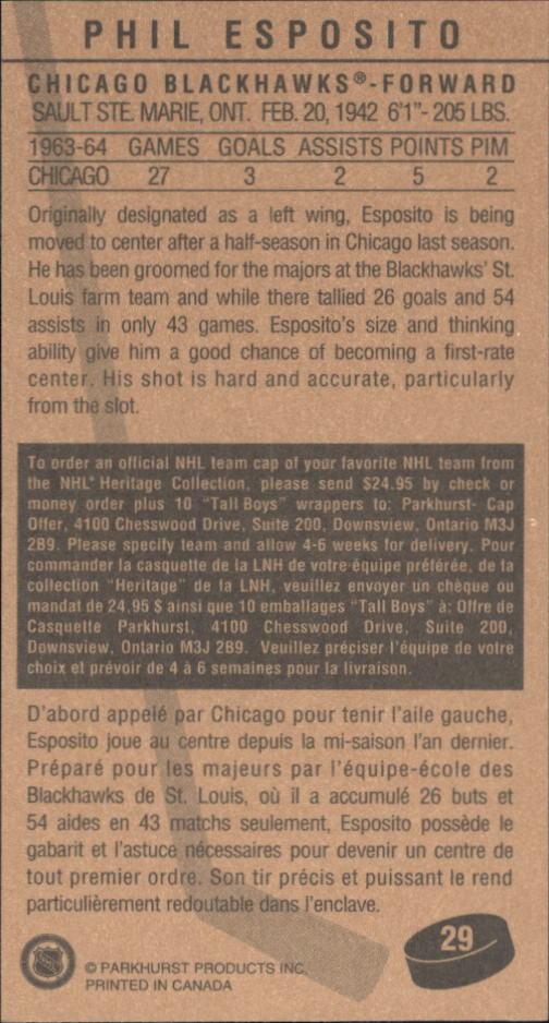 1994 Parkhurst Tall Boys #29 Phil Esposito back image