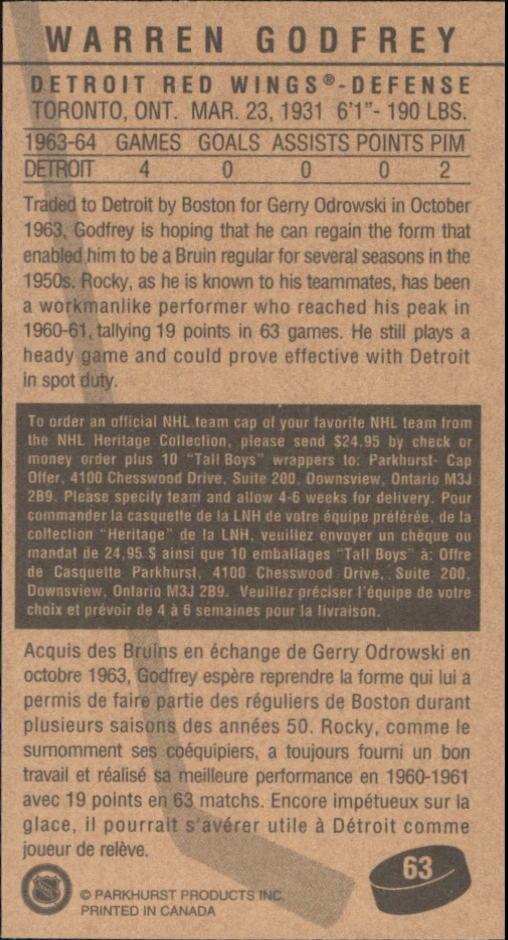 1994 Parkhurst Tall Boys #63 Warren Godfrey back image