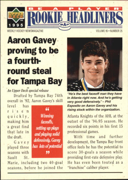 1994-95 Be A Player #R156 Aaron Gavey