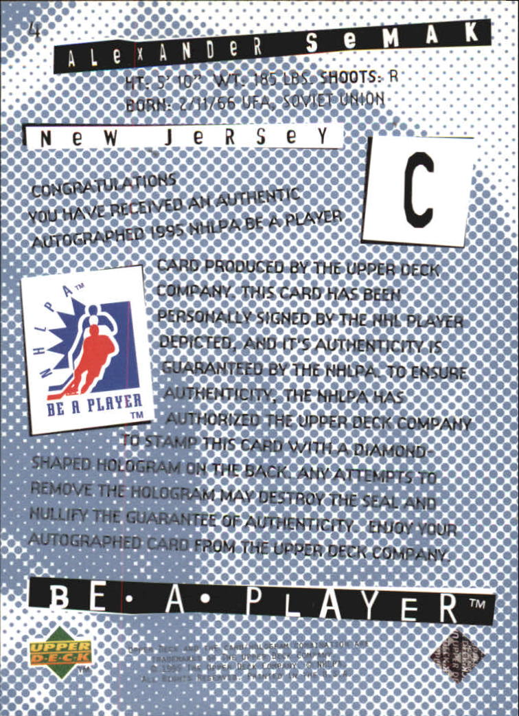 1994-95 Be A Player Autographs #4 Alexander Semak back image