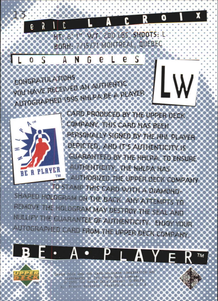 1994-95 Be A Player Autographs #13 Eric Lacroix back image