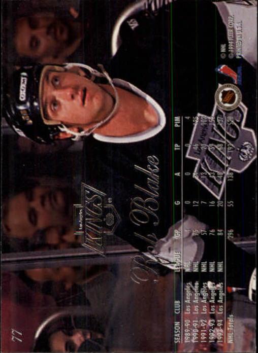 1994-95 Flair #77 Rob Blake back image