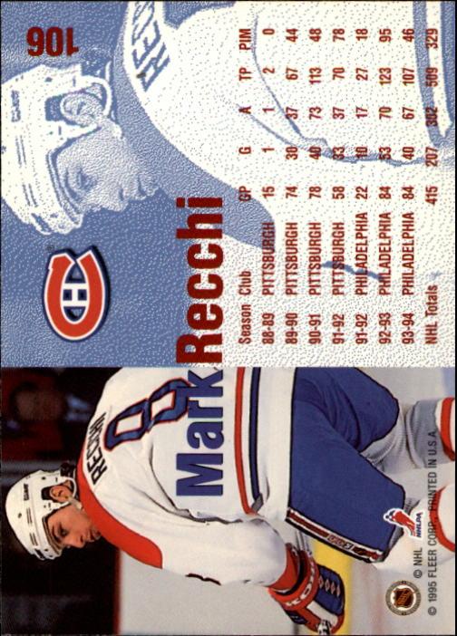 1994-95 Fleer #106 Mark Recchi back image
