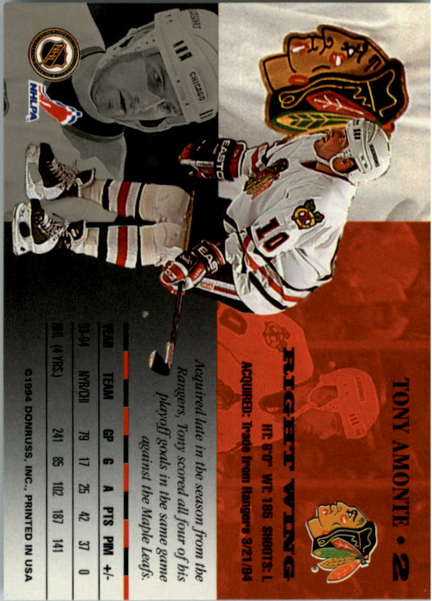 1994-95 Leaf #2 Tony Amonte back image